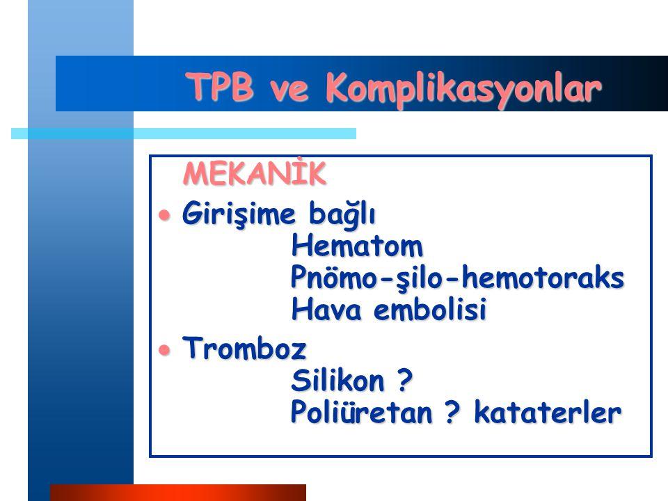 TPB ve Komplikasyonlar MEKANİK  Girişime bağlı Hematom Pnömo-şilo-hemotoraks Hava embolisi  Tromboz Silikon .