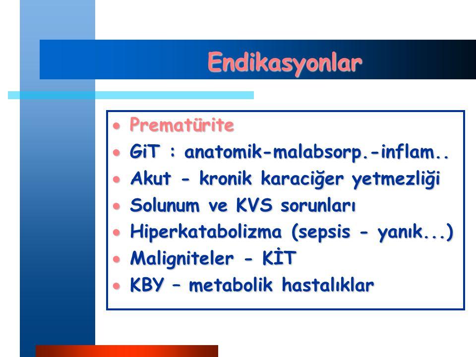 Endikasyonlar  Prematürite  GiT : anatomik-malabsorp.-inflam..