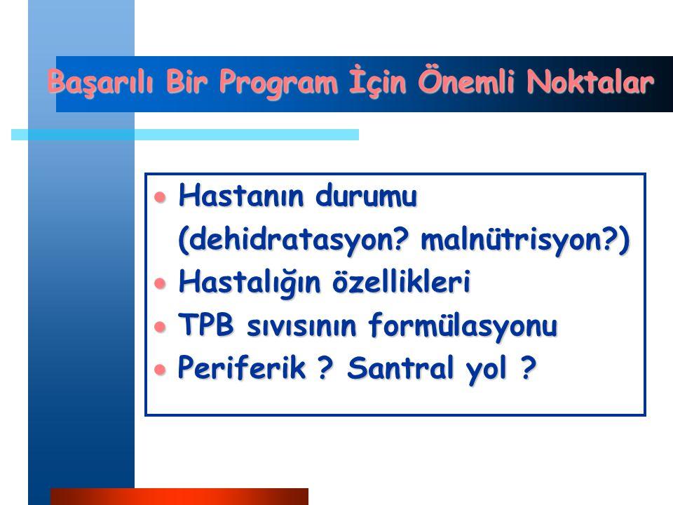 Başarılı Bir Program İçin Önemli Noktalar  Hastanın durumu (dehidratasyon.