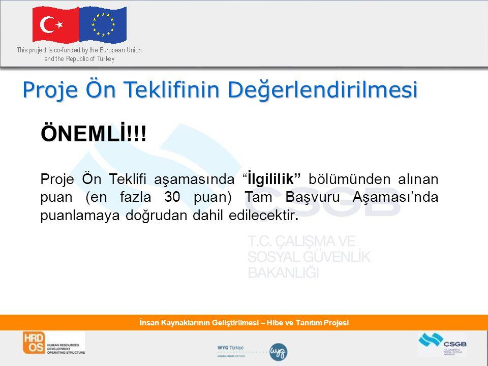 İnsan Kaynaklarının Geliştirilmesi – Hibe ve Tanıtım Projesi Proje Ön Teklifinin Değerlendirilmesi ÖNEMLİ!!.