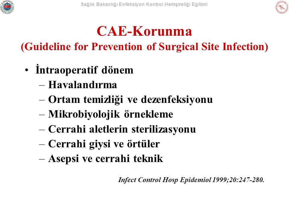 Sağlık Bakanlığı Enfeksiyon Kontrol Hemşireliği Eğitimi İntraoperatif dönem –Havalandırma –Ortam temizliği ve dezenfeksiyonu –Mikrobiyolojik örnekleme –Cerrahi aletlerin sterilizasyonu –Cerrahi giysi ve örtüler –Asepsi ve cerrahi teknik Infect Control Hosp Epidemiol 1999;20:247-280.