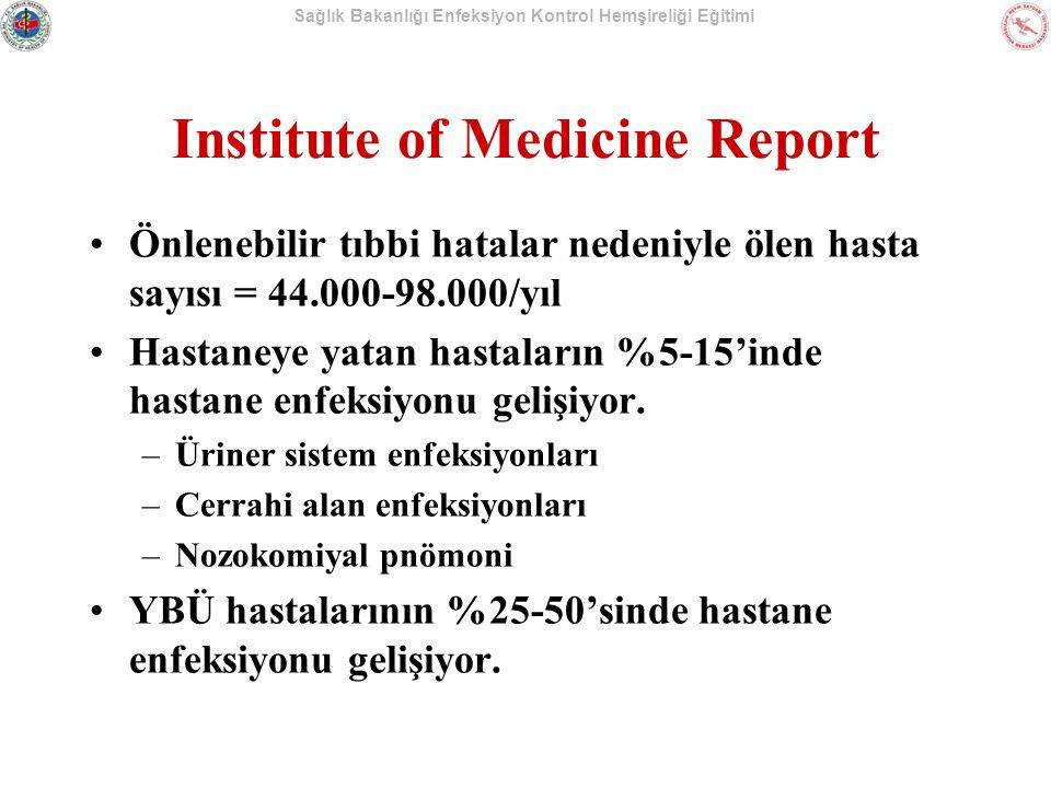 Sağlık Bakanlığı Enfeksiyon Kontrol Hemşireliği Eğitimi Institute of Medicine Report Önlenebilir tıbbi hatalar nedeniyle ölen hasta sayısı = 44.000-98.000/yıl Hastaneye yatan hastaların %5-15'inde hastane enfeksiyonu gelişiyor.