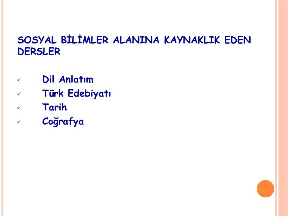 SOSYAL BİLİMLER ALANINA KAYNAKLIK EDEN DERSLER Dil Anlatım Türk Edebiyatı Tarih Coğrafya