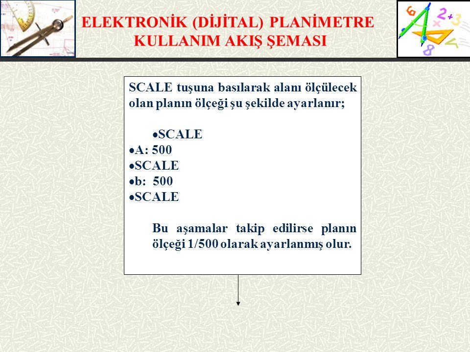 SCALE tuşuna basılarak alanı ölçülecek olan planın ölçeği şu şekilde ayarlanır;  SCALE  A: 500  SCALE  b: 500  SCALE Bu aşamalar takip edilirse p