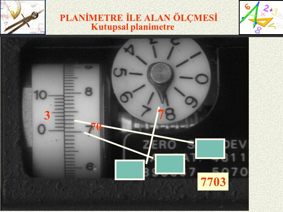 PLANİMETRE İLE ALAN ÖLÇMESİ Planimetre İle Alan Hesabı F = n x qF= Alan (m 2 ) (mm 2 ) n= Planimetre okuması q= Verniyer birim alanı (m 2 ) (mm 2 ) 2 tip planimetre var.