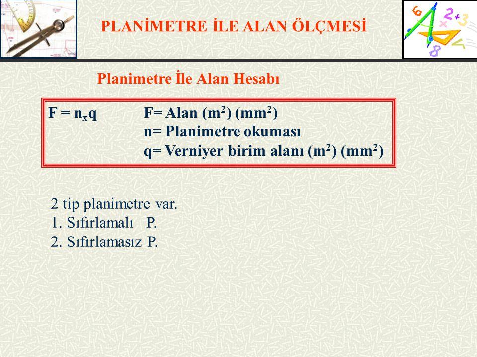 PLANİMETRE İLE ALAN ÖLÇMESİ Planimetre İle Alan Hesabı F = n x qF= Alan (m 2 ) (mm 2 ) n= Planimetre okuması q= Verniyer birim alanı (m 2 ) (mm 2 ) 2