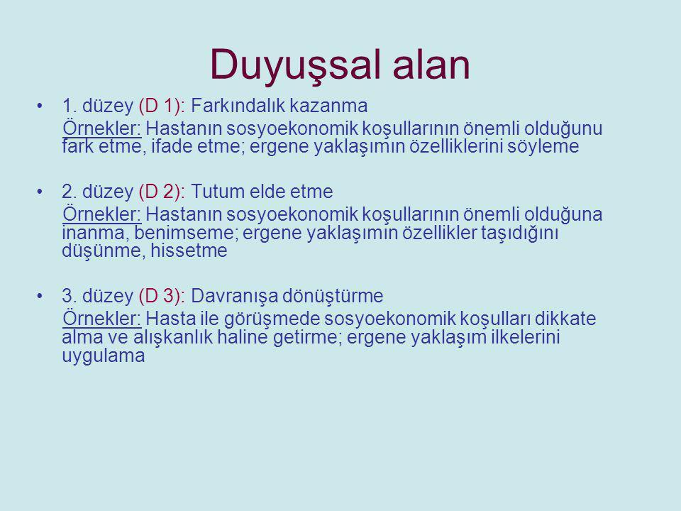 3.Psikomotor alan/Beceri 1. düzey (P 1): Bilmek (gözlemlemek, video gösterimi, sunum vb.