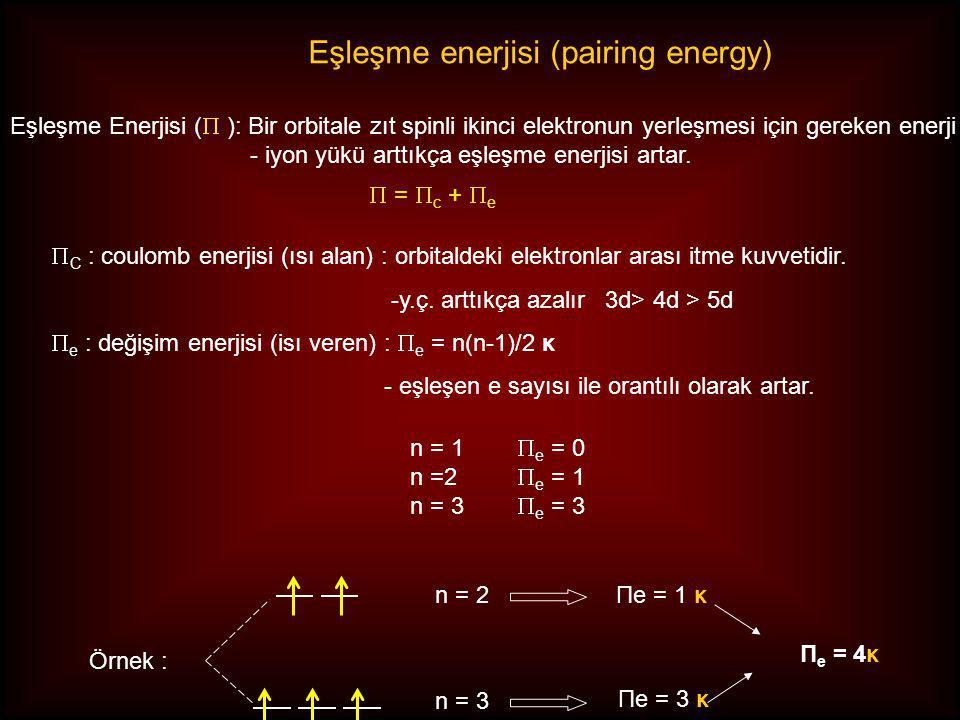 Örnek : n = 2 n = 3 Πe = 1 κ Πe = 3 κ Π e = 4κ  =  c +  e  C : coulomb enerjisi (ısı alan) : orbitaldeki elektronlar arası itme kuvvetidir.