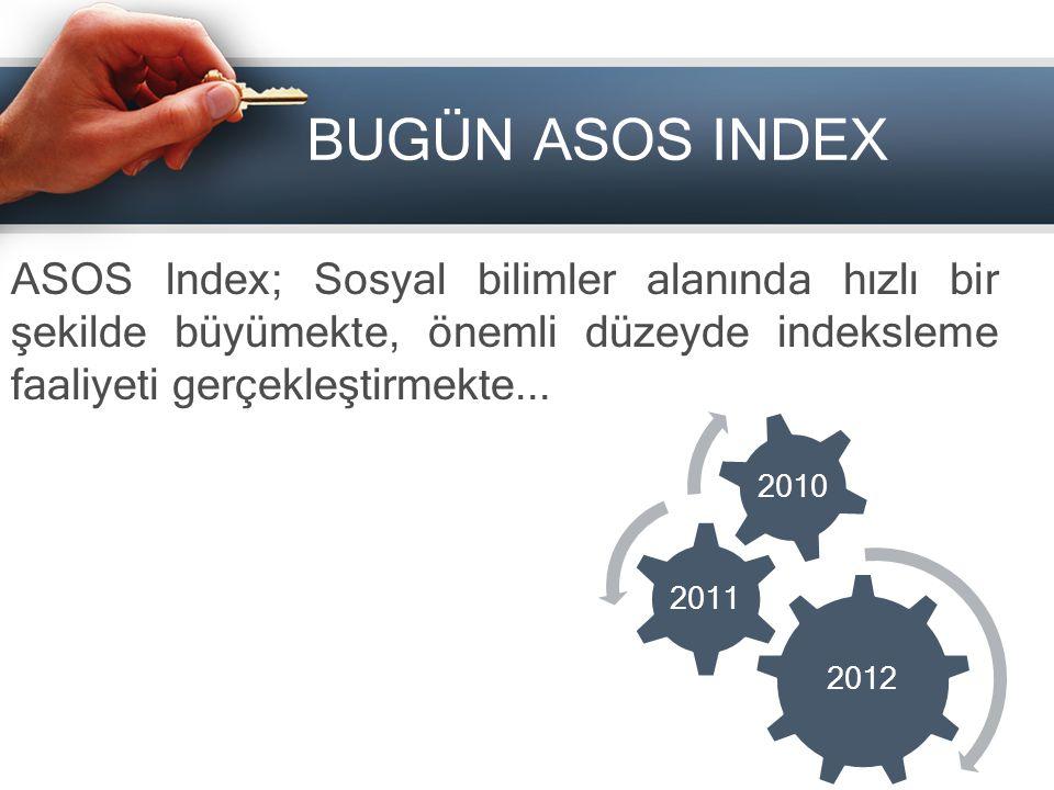 BUGÜN ASOS INDEX ASOS Index; Sosyal bilimler alanında hızlı bir şekilde büyümekte, önemli düzeyde indeksleme faaliyeti gerçekleştirmekte... 2012 2011