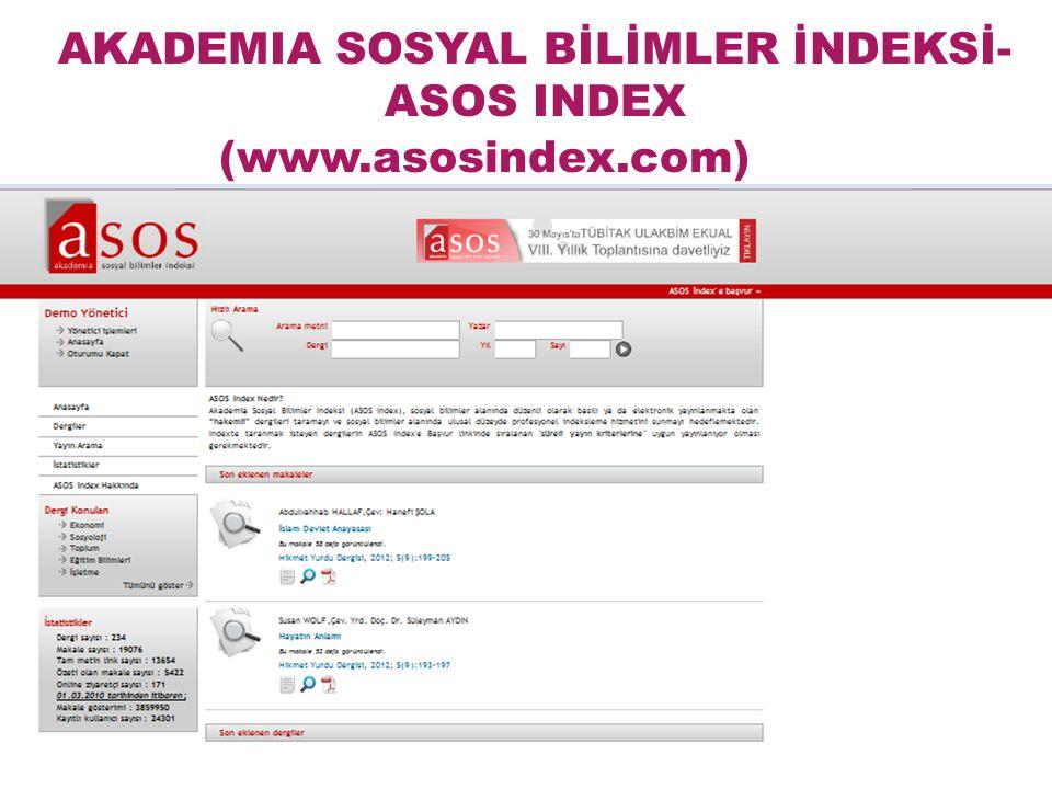 İlk dergiyi Mart 2010 tarihinde indeksledik. ASOS INDEX'İN TARİHÇESİ