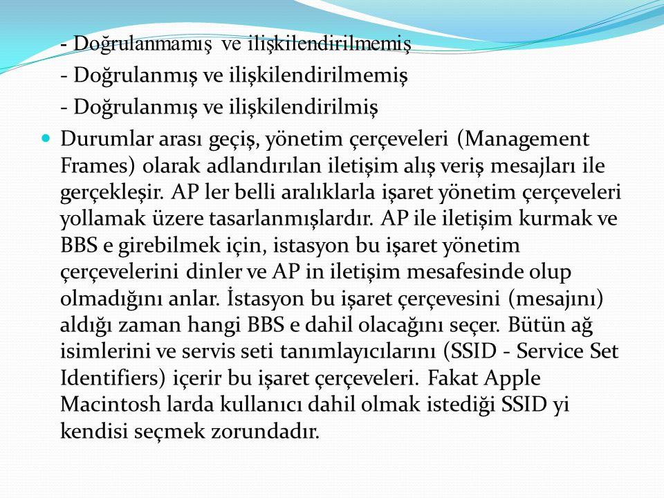 - Doğrulanmamış ve ilişkilendirilmemiş - Doğrulanmış ve ilişkilendirilmemiş - Doğrulanmış ve ilişkilendirilmiş Durumlar arası geçiş, yönetim çerçeveleri (Management Frames) olarak adlandırılan iletişim alış veriş mesajları ile gerçekleşir.
