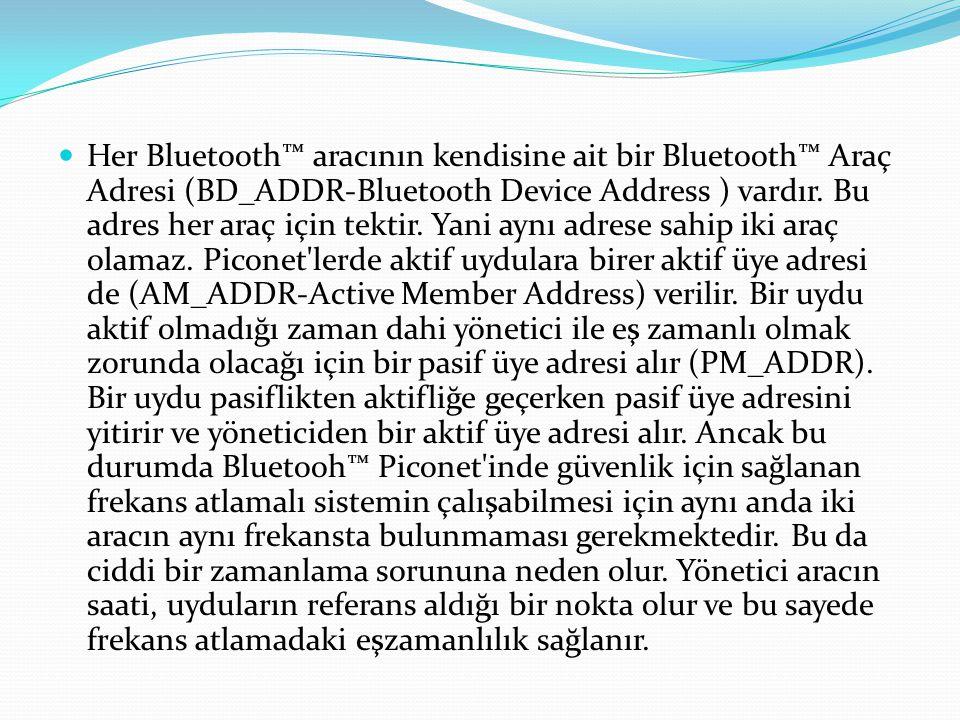 Her Bluetooth™ aracının kendisine ait bir Bluetooth™ Araç Adresi (BD_ADDR-Bluetooth Device Address ) vardır.