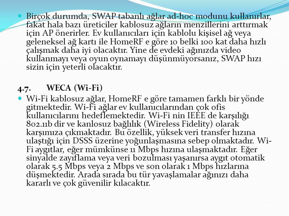 Birçok durumda, SWAP tabanlı ağlar ad-hoc modunu kullanırlar, fakat hala bazı üreticiler kablosuz ağların menzillerini arttırmak için AP önerirler.