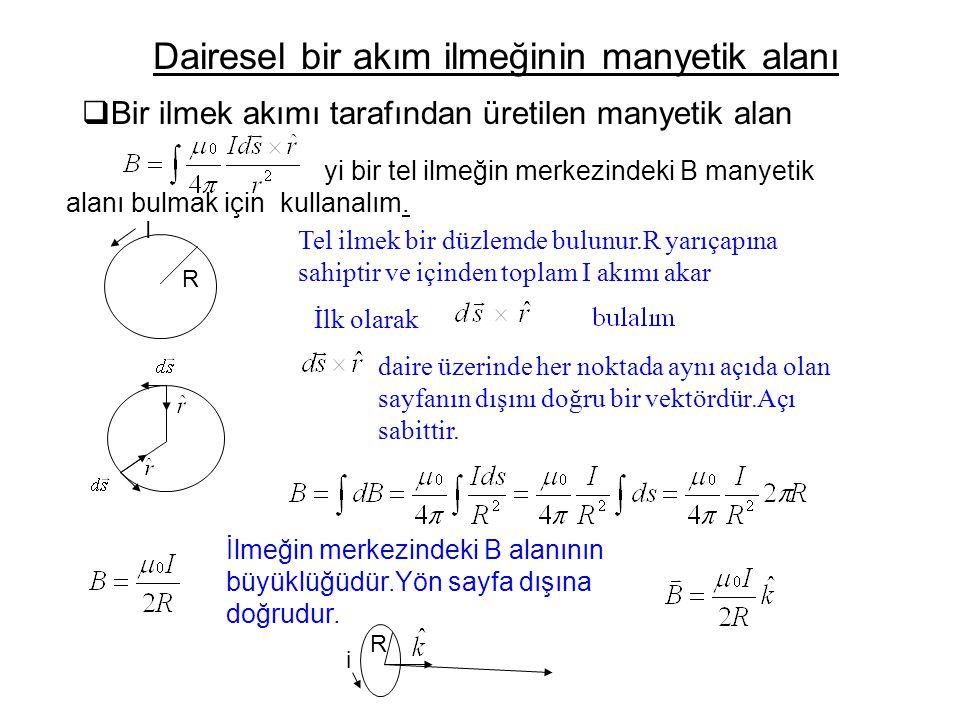  Bir ilmek akımı tarafından üretilen manyetik alan Dairesel bir akım ilmeğinin manyetik alanı yi bir tel ilmeğin merkezindeki B manyetik alanı bulmak