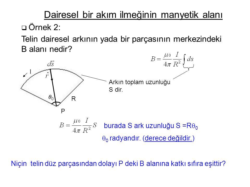  Örnek 2: Dairesel bir akım ilmeğinin manyetik alanı Telin dairesel arkının yada bir parçasının merkezindeki B alanı nedir? 00 R I Arkın toplam uzu