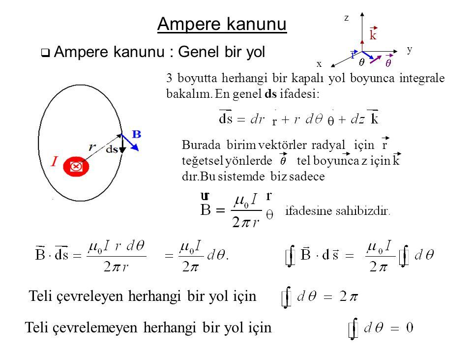  Ampere kanunu : Genel bir yol Ampere kanunu 3 boyutta herhangi bir kapalı yol boyunca integrale bakalım. En genel ds ifadesi: Burada birim vektörler
