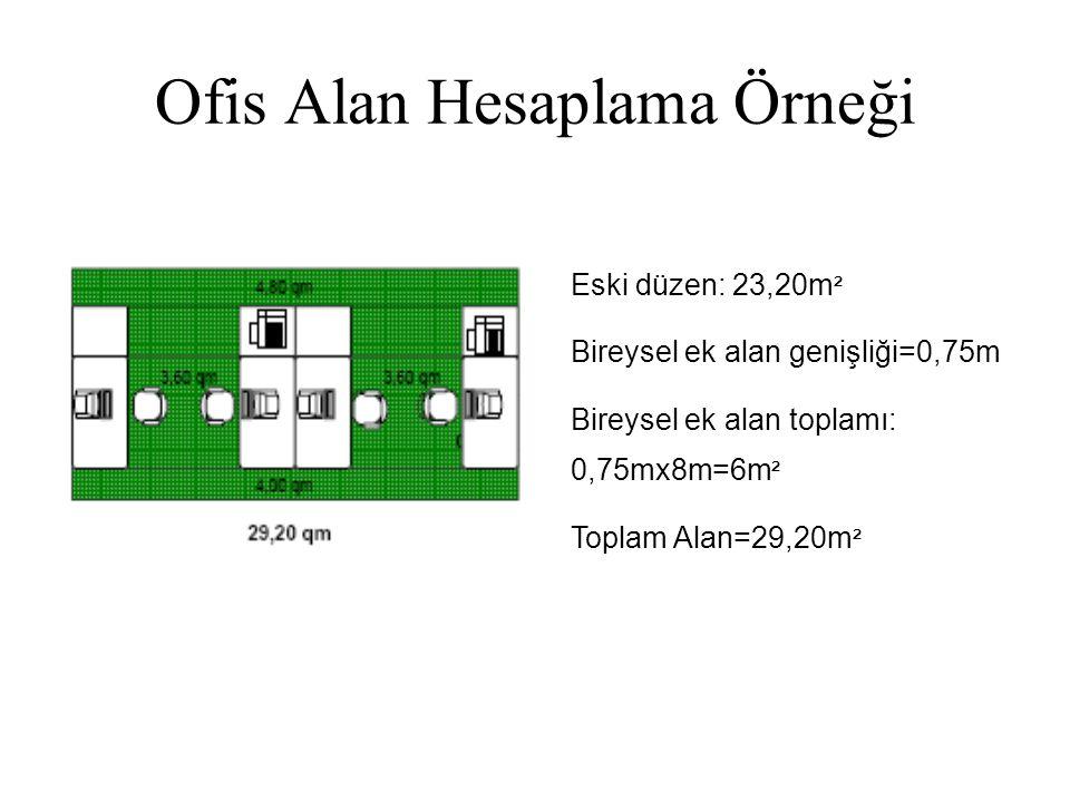 Ofis Alan Hesaplama Örneği Eski düzen: 23,20m ² Bireysel ek alan genişliği=0,75m Bireysel ek alan toplamı: 0,75mx8m=6m ² Toplam Alan=29,20m ²