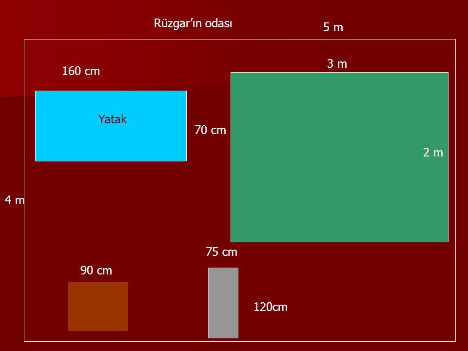 Yatak Rüzgar'ın odası 160 cm 70 cm 90 cm 75 cm 120cm 3 m 2 m 5 m 4 m