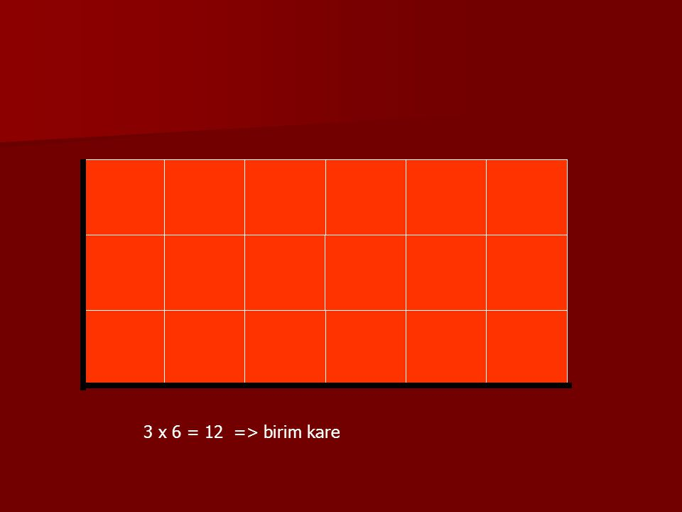 3 x 6 = 12 => birim kare