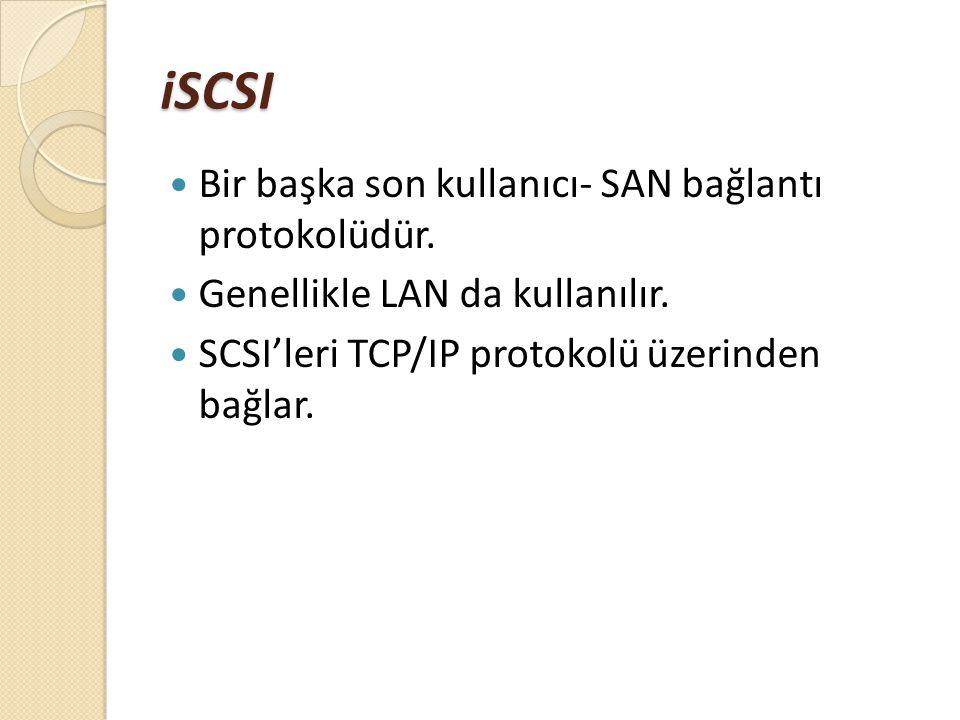 iSCSI Bir başka son kullanıcı- SAN bağlantı protokolüdür. Genellikle LAN da kullanılır. SCSI'leri TCP/IP protokolü üzerinden bağlar.