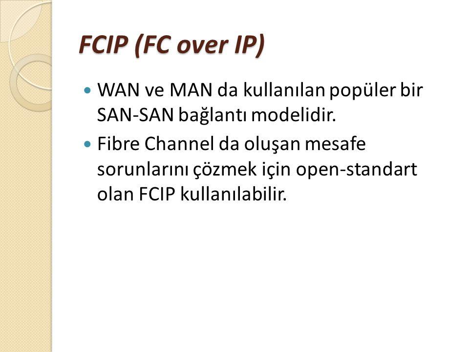 FCIP (FC over IP) WAN ve MAN da kullanılan popüler bir SAN-SAN bağlantı modelidir. Fibre Channel da oluşan mesafe sorunlarını çözmek için open-standar
