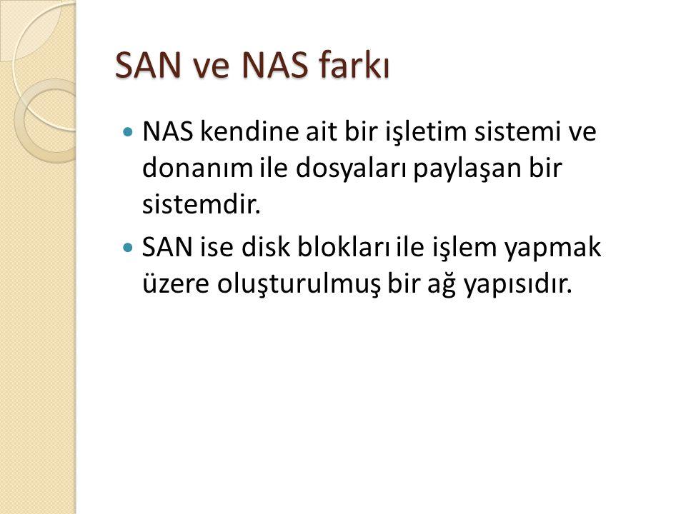 SAN ve NAS farkı NAS kendine ait bir işletim sistemi ve donanım ile dosyaları paylaşan bir sistemdir. SAN ise disk blokları ile işlem yapmak üzere olu