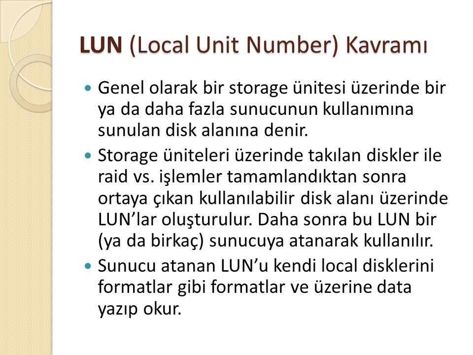 LUN (Local Unit Number) Kavramı Genel olarak bir storage ünitesi üzerinde bir ya da daha fazla sunucunun kullanımına sunulan disk alanına denir. Stora
