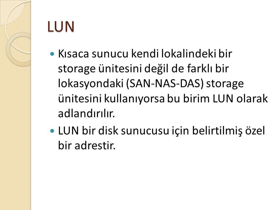 LUN Kısaca sunucu kendi lokalindeki bir storage ünitesini değil de farklı bir lokasyondaki (SAN-NAS-DAS) storage ünitesini kullanıyorsa bu birim LUN o