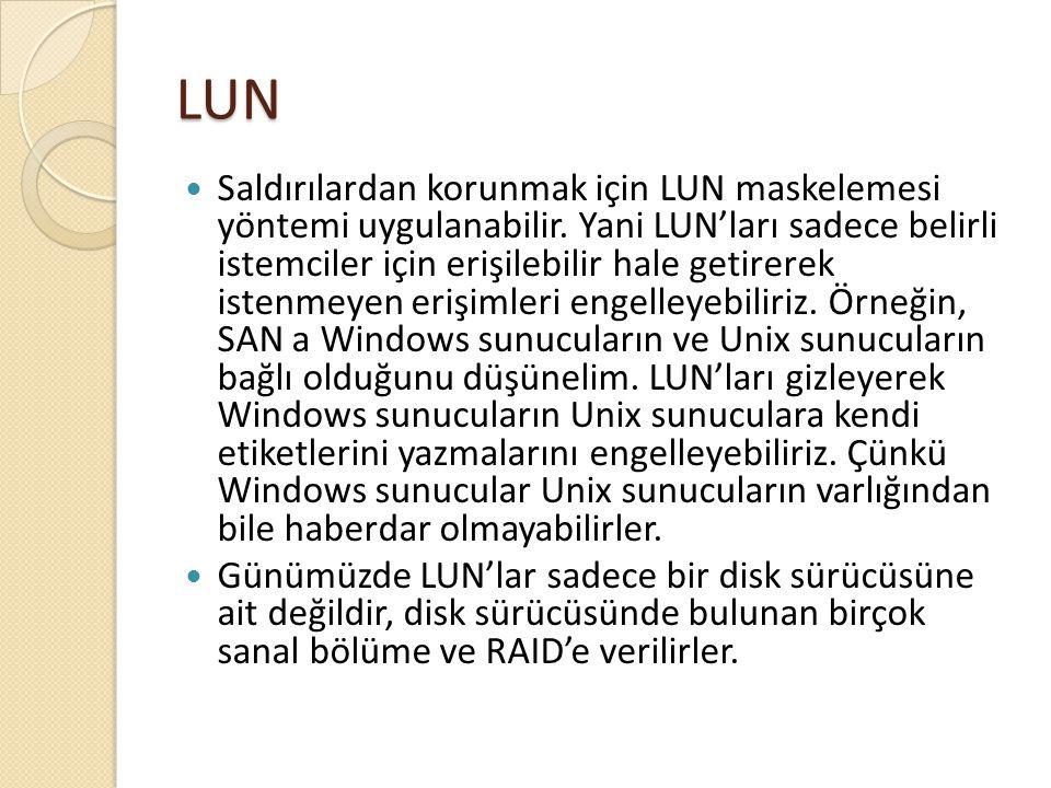 LUN Saldırılardan korunmak için LUN maskelemesi yöntemi uygulanabilir. Yani LUN'ları sadece belirli istemciler için erişilebilir hale getirerek istenm
