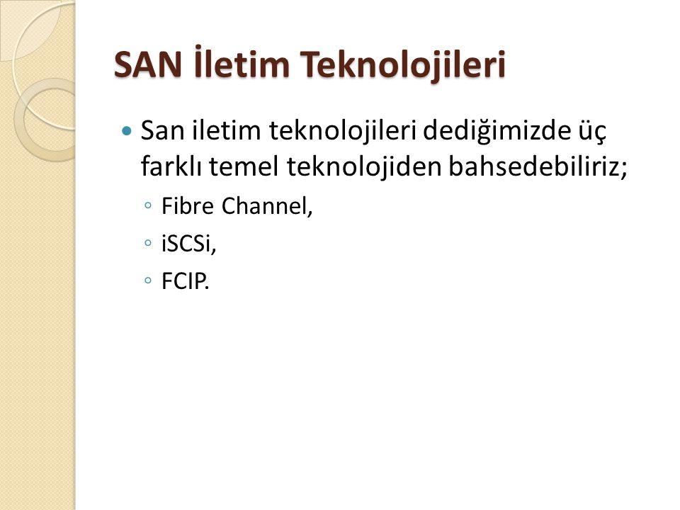 SAN İletim Teknolojileri San iletim teknolojileri dediğimizde üç farklı temel teknolojiden bahsedebiliriz; ◦ Fibre Channel, ◦ iSCSi, ◦ FCIP.