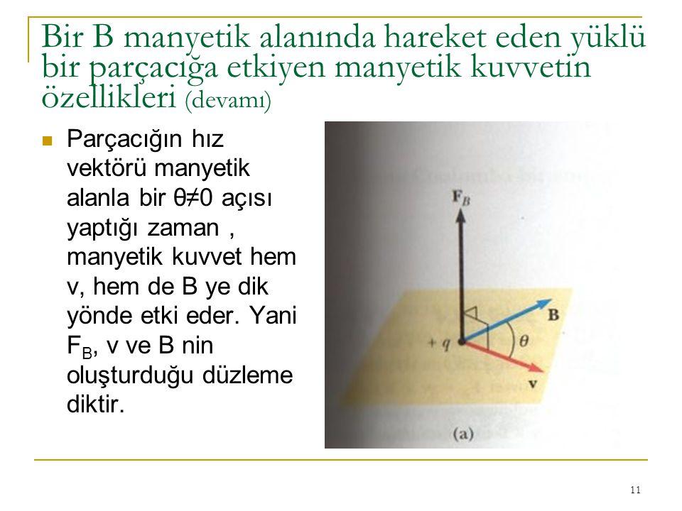 11 Bir B manyetik alanında hareket eden yüklü bir parçacığa etkiyen manyetik kuvvetin özellikleri (devamı) Parçacığın hız vektörü manyetik alanla bir