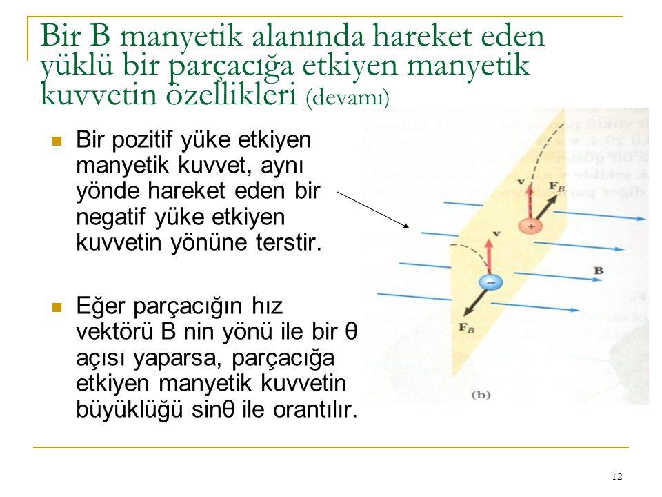 12 Bir B manyetik alanında hareket eden yüklü bir parçacığa etkiyen manyetik kuvvetin özellikleri (devamı) Bir pozitif yüke etkiyen manyetik kuvvet, a