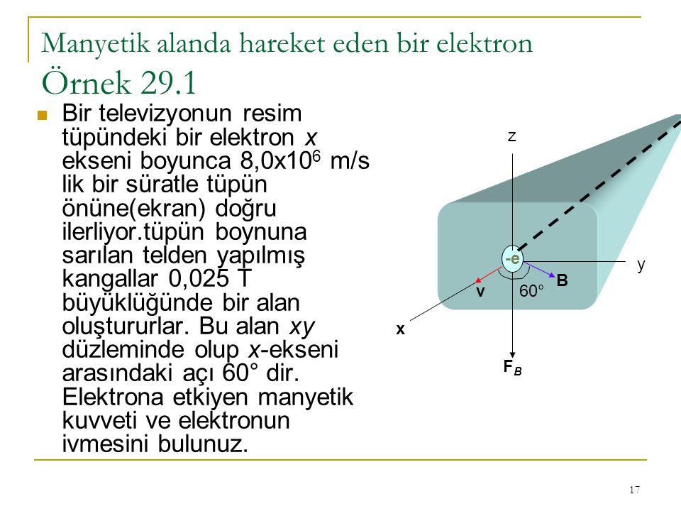 17 Manyetik alanda hareket eden bir elektron Örnek 29.1 Bir televizyonun resim tüpündeki bir elektron x ekseni boyunca 8,0x10 6 m/s lik bir süratle tü