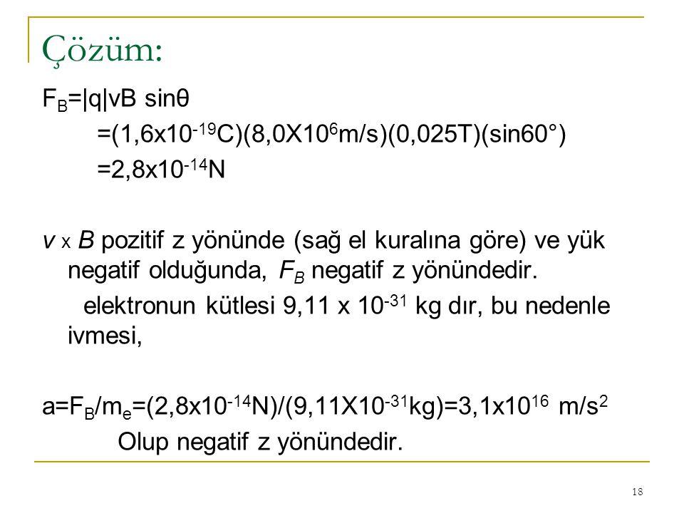 18 Çözüm: F B =|q|vB sinθ =(1,6x10 -19 C)(8,0X10 6 m/s)(0,025T)(sin60°) =2,8x10 -14 N v x B pozitif z yönünde (sağ el kuralına göre) ve yük negatif ol