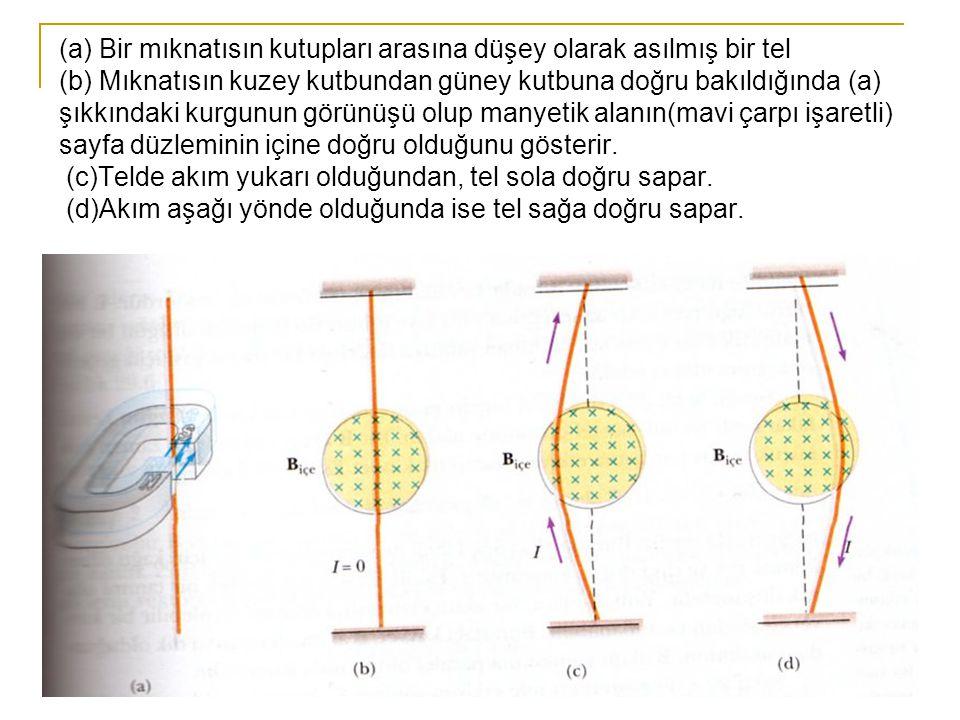 22 (a) Bir mıknatısın kutupları arasına düşey olarak asılmış bir tel (b) Mıknatısın kuzey kutbundan güney kutbuna doğru bakıldığında (a) şıkkındaki ku