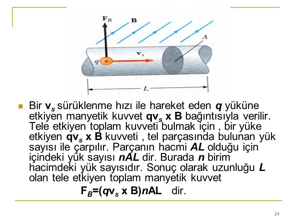 24 Bir v s sürüklenme hızı ile hareket eden q yüküne etkiyen manyetik kuvvet qv s x B bağıntısıyla verilir. Tele etkiyen toplam kuvveti bulmak için, b