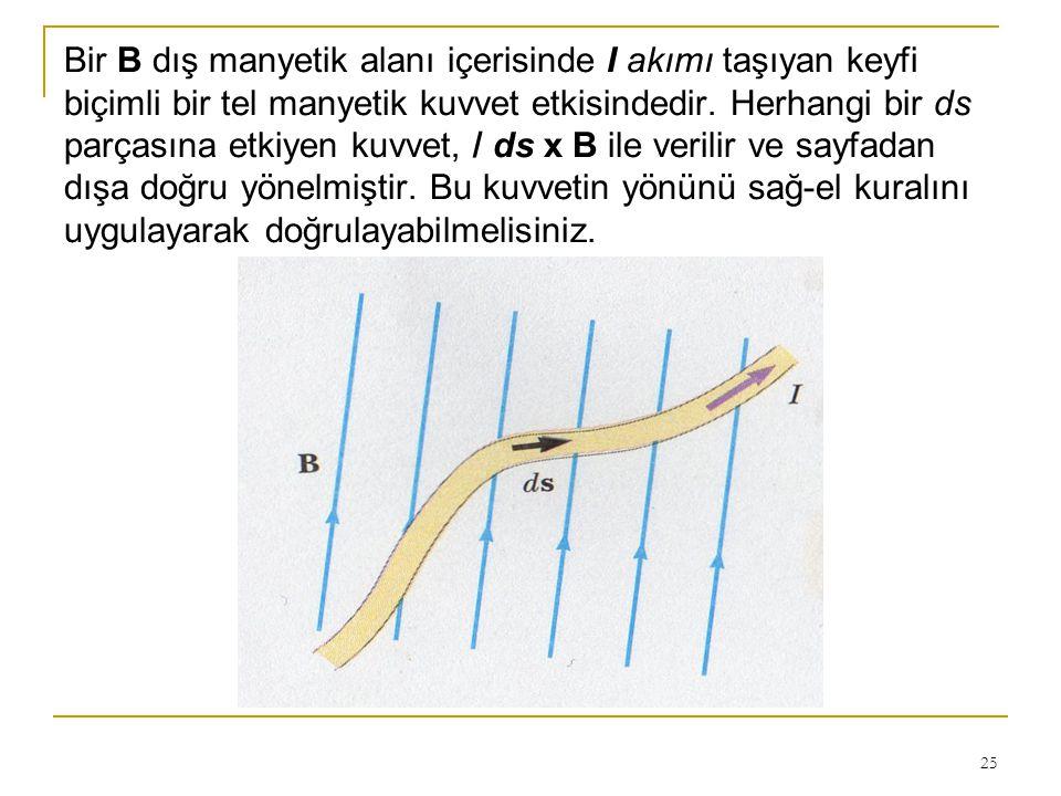 25 Bir B dış manyetik alanı içerisinde I akımı taşıyan keyfi biçimli bir tel manyetik kuvvet etkisindedir. Herhangi bir ds parçasına etkiyen kuvvet, /