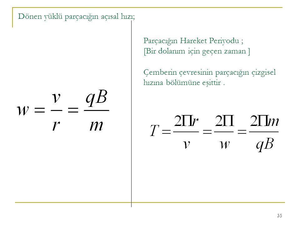 35 Dönen yüklü parçacığın açısal hızı; Parçacığın Hareket Periyodu ; [Bir dolanım için geçen zaman ] Çemberin çevresinin parçacığın çizgisel hızına bö