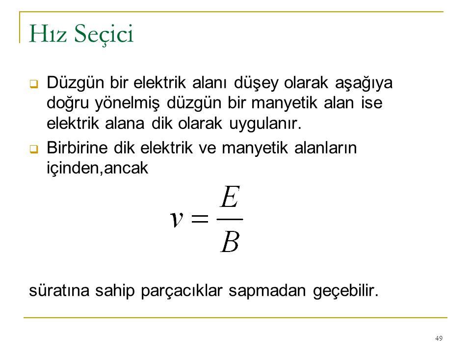 49 Hız Seçici  Düzgün bir elektrik alanı düşey olarak aşağıya doğru yönelmiş düzgün bir manyetik alan ise elektrik alana dik olarak uygulanır.  Birb