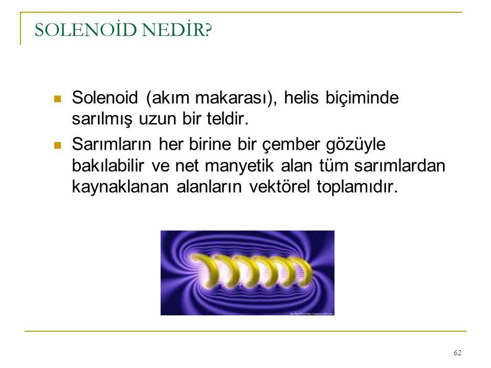 62 SOLENOİD NEDİR? Solenoid (akım makarası), helis biçiminde sarılmış uzun bir teldir. Sarımların her birine bir çember gözüyle bakılabilir ve net man