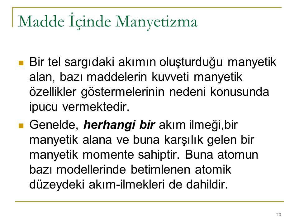 70 Madde İçinde Manyetizma Bir tel sargıdaki akımın oluşturduğu manyetik alan, bazı maddelerin kuvveti manyetik özellikler göstermelerinin nedeni konu