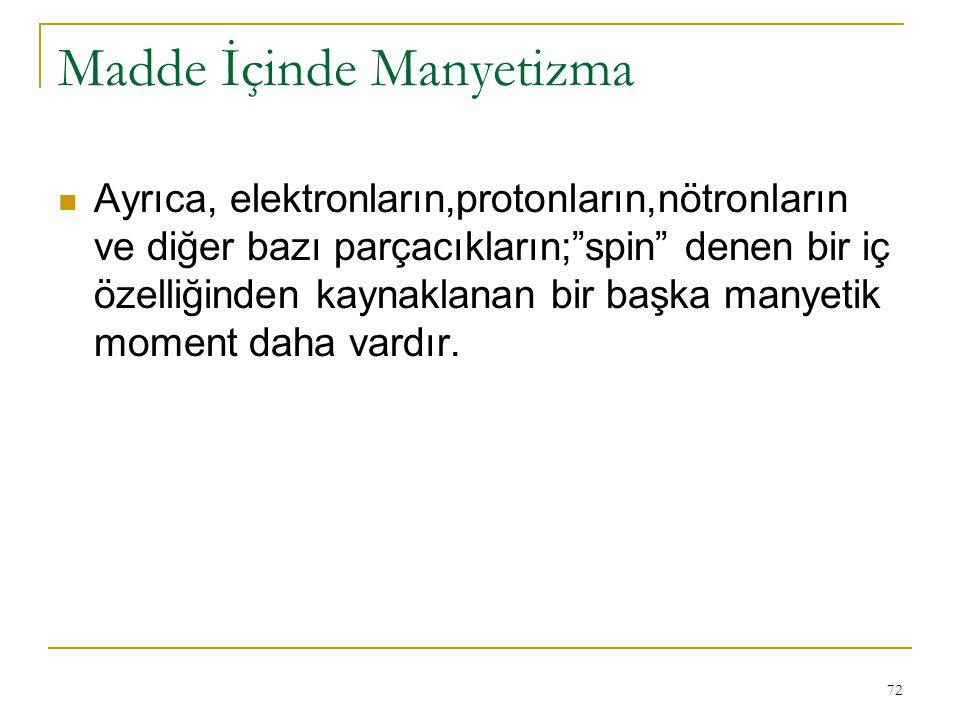 """72 Ayrıca, elektronların,protonların,nötronların ve diğer bazı parçacıkların;""""spin"""" denen bir iç özelliğinden kaynaklanan bir başka manyetik moment da"""