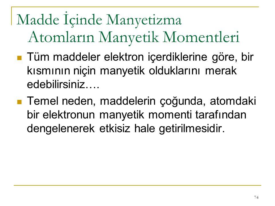 74 Tüm maddeler elektron içerdiklerine göre, bir kısmının niçin manyetik olduklarını merak edebilirsiniz…. Temel neden, maddelerin çoğunda, atomdaki b