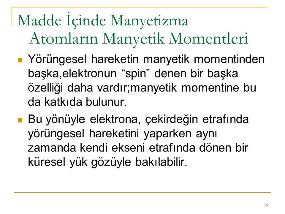 """76 Yörüngesel hareketin manyetik momentinden başka,elektronun """"spin"""" denen bir başka özelliği daha vardır;manyetik momentine bu da katkıda bulunur. Bu"""