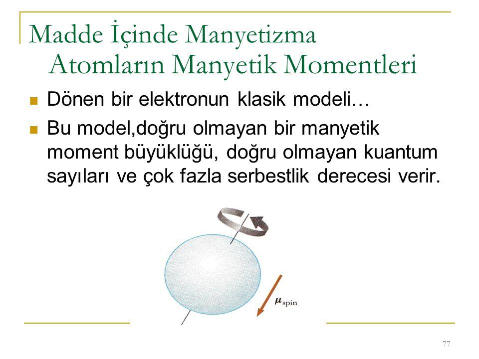 77 Dönen bir elektronun klasik modeli… Bu model,doğru olmayan bir manyetik moment büyüklüğü, doğru olmayan kuantum sayıları ve çok fazla serbestlik de