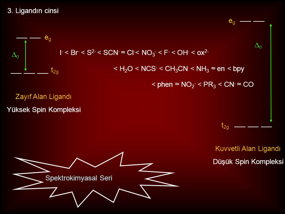 e.g.[Co(NH 3 ) 6 ] 3+  o = 22 900 cm -1 [Rh(NH 3 ) 6 ] 3+  o = 34 100 cm -1 [Ir(NH 3 ) 6 ] 3+  o = 41 000 cm -1 1. metal iyonunun yükseltgenme sayı