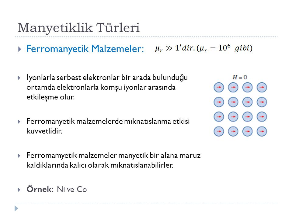Manyetiklik Türleri  Ferromanyetik Malzemeler:  İ yonlarla serbest elektronlar bir arada bulundu ğ u ortamda elektronlarla komşu iyonlar arasında etkileşme olur.