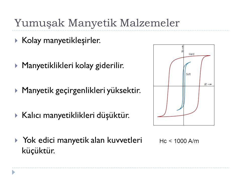 Yumuşak Manyetik Malzemeler  Kolay manyetikleşirler.