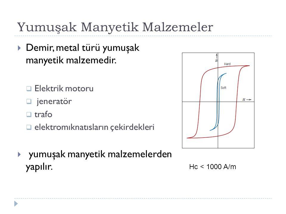 Yumuşak Manyetik Malzemeler  Demir, metal türü yumuşak manyetik malzemedir.