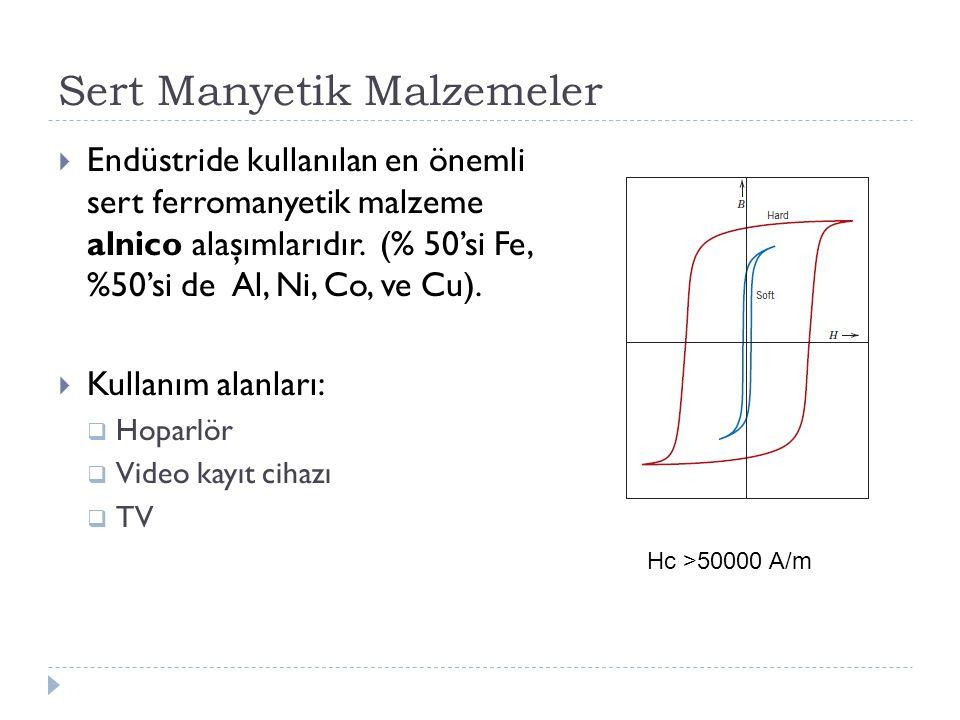 Sert Manyetik Malzemeler  Endüstride kullanılan en önemli sert ferromanyetik malzeme alnico alaşımlarıdır.